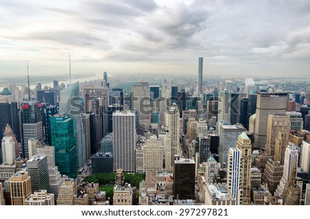 New York city, United States. July 08, 2015. Panoramic view of Manhattan skyline and buildings - stock photo