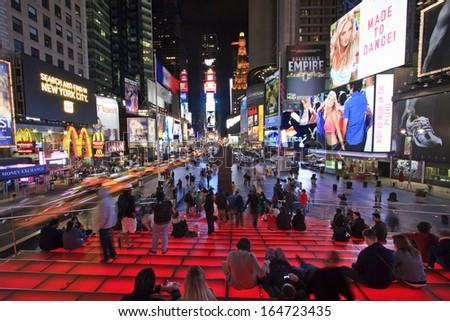 New York City,United States,June 05 2012: People spending time during the night in the busy center on Times Square - stock photo