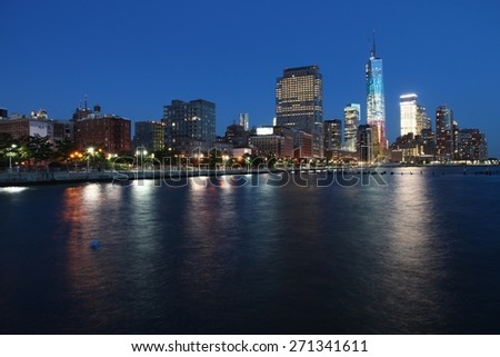 New York City, United States - Manhattan skyline night view.