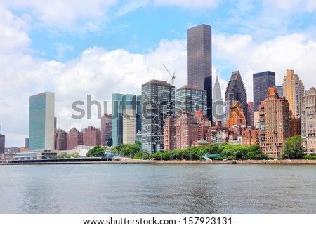 New York City, United States - Manhattan skyline with East River - stock photo