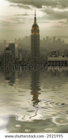 New York city - united states of America - flood - reflection - stock photo