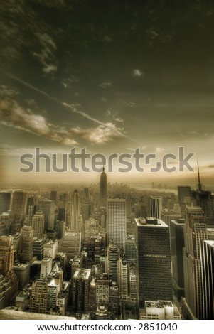New York city - united states of America - sepia - stock photo