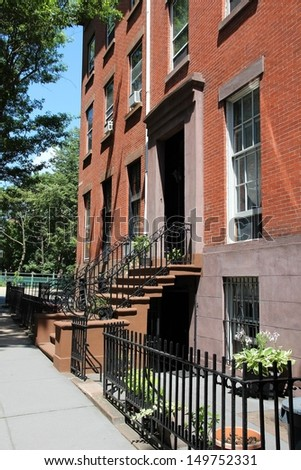 New York City, United States - old residential building in Brooklyn Heights