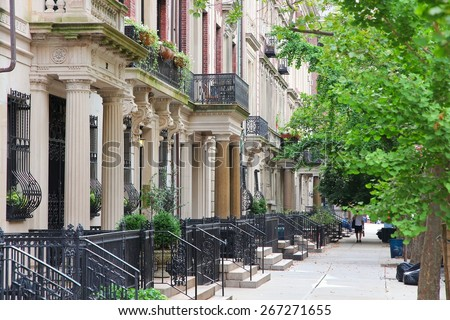 New York City, United States - old townhouses in Upper West Side neighborhood in Manhattan. - stock photo