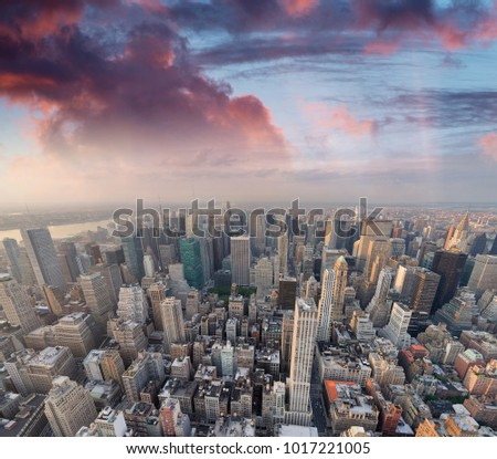 New York City, USA. Amazing aerial Manhattan view at sunset.