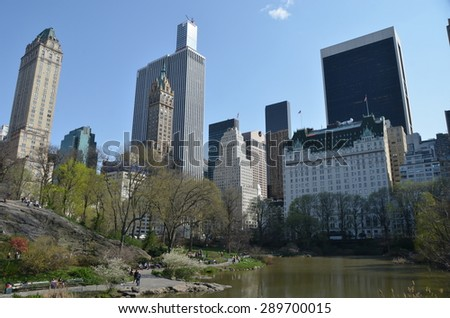 New York City, USA - April 21, 2015: Central Park in the spring, New York City, USA. - stock photo