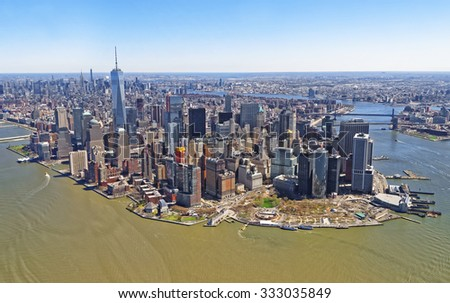 NEW YORK CITY, USA - APRIL 25, 2015: Stunning aerial view of Manhattan, New York City from a helicopter on April 25, 2015 - stock photo