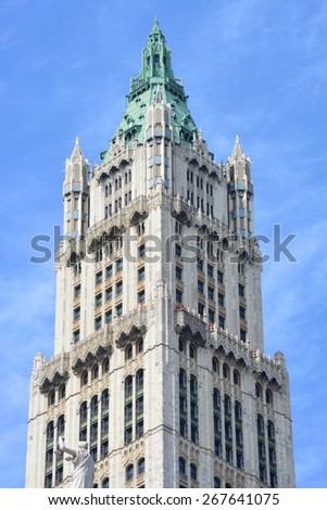 New York City, USA - April 6, 2015: The top of the landmark Woolworth Building in Lower Manhattan.  - stock photo