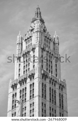 New York City, USA - April 6, 2015: Top of the landmark Woolworth Building in Lower Manhattan.   - stock photo