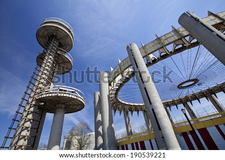 New York City, USA - April 20, 2014: Towers of New York State Pavilion at Flushing Meadows Corona Park in New York City.  - stock photo