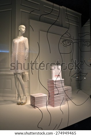 NEW YORK CITY, USA - APRIL 21, 2015: Window display at Saks Fifth Avenue in NYC on April 21, 2015. - stock photo