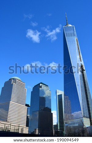 NEW YORK CITY, USA - April 27, 2014: Work continues on World Trade Center Tower One at Ground Zero in Lower Manhattan.  - stock photo