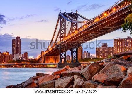 New York City, USA at the Manhattan Bridge spanning the East River. - stock photo