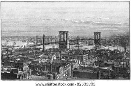 NEW YORK CITY, USA - CIRCA 1883: Brooklyn Bridge as seen from the New York side. Engraving from Harper's Monthly magazine 1883, by unknown artist. circa 1883 in New York City, USA - stock photo