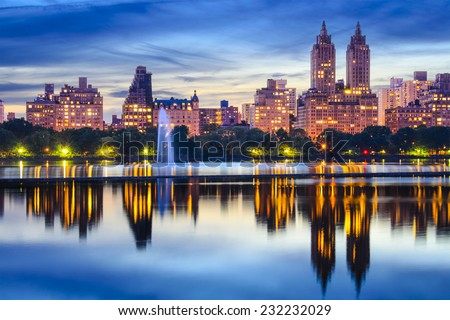 New York City, USA cityscape at Central Park Lake. - stock photo