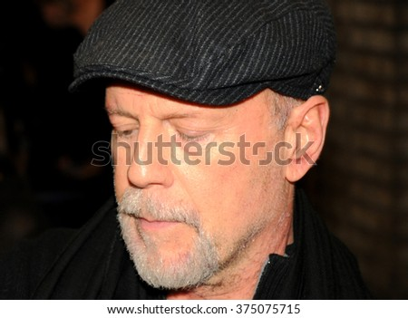 NEW YORK CITY, USA, FEB 3: The famous actor Bruce Willis walking in the streets of Manhattan, NYC, Feb 3, 2016 - stock photo