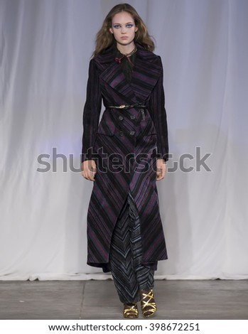 New York City, USA - February 13, 2016: Adrienne Juliger walks the runway during the Jill Stuart Women's show as a part of Fall 2016 New York Fashion Week