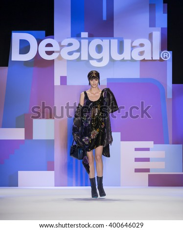 New York City, USA - February 11, 2016: Agnes Sokolowska walks the runway during the Desigual Women's show as a part of Fall 2016 New York Fashion Week - stock photo