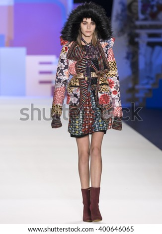 New York City, USA - February 11, 2016: Anja Cihoric walks the runway during the Desigual Women's show as a part of Fall 2016 New York Fashion Week