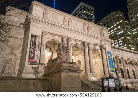 NEW YORK CITY, USA. FEBRUARY 2016. New York Public Library is an emblematic building located in the East of Bryant Park in Manhattan (NYC).