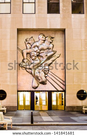 NEW YORK CITY, USA - FEBRUARY 4: News sculpture by Isamu Noguchi on Rockefeller Plaza, in New York, USA on February 04, 2010. The relief was installed on April 29, 1940 - stock photo
