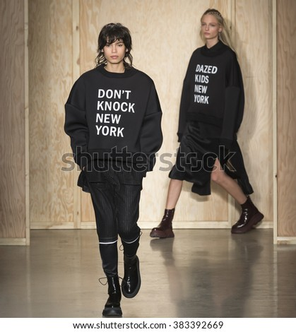 New York City, USA - February 17, 2016: Yana Bovenistier walks the runway during the DKNY Women's show as a part of Fall 2016 New York Fashion Week at Skylight Modern - stock photo