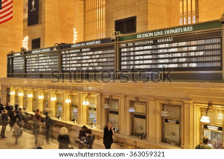 New York City, USA - January 04, 2015: Arrival Departure Board in Grand Central Terminal in New York City.  - stock photo