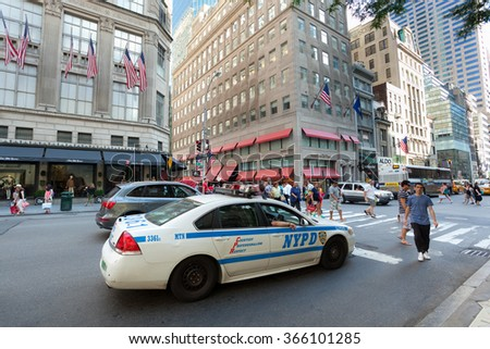 NEW YORK CITY , USA - JULY 07, 2015: NYPD car in Manhattan; established in 1845, NYPD is the largest municipal police force in the United States. - stock photo