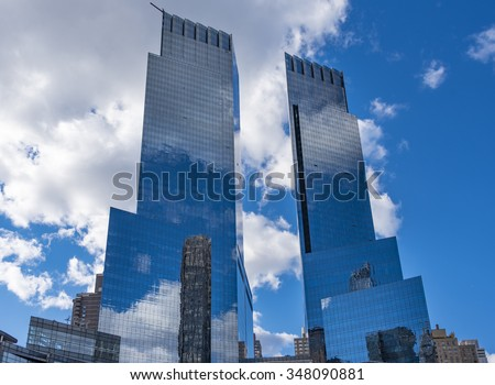 NEW YORK CITY,USA-JULY 3,2015: Time Warner Center is a twin-tower building developed by AREA Property Partners and The Related Companies. Its design attracts tourism in the Big Apple - stock photo