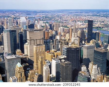 New York City, USA - June 20, 2014: Aerial view of New York City from the Empire State Building. - stock photo