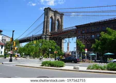 NEW YORK CITY, USA - June 6, 2014: Brooklyn side of the Brooklyn Bridge in New York City. - stock photo