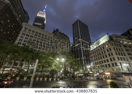 NEW YORK CITY, USA - JUNE 05 2016 - Night scene of the Empire State Building, a 102-story landmark and American cultural icon, New York City, USA. Sunset