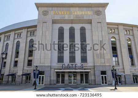 New York City, USA - June 10, 2017: Outside view of Yankee Stadium Gate 4 in Bronx