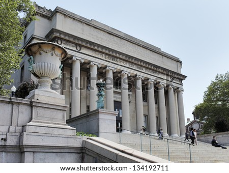 NEW YORK CITY, USA - JUNE 14: The Low Memorial Library of Columbia University. The Building now consists almost solely of administrative offices. June 14, 2012 in New York City, USA - stock photo