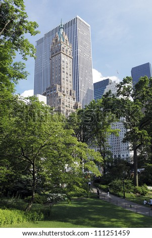 NEW YORK CITY, USA - JUNE 14: View from Central Park. Central Park is a public park at the center of Manhattan. June 14, 2012 in New York City, USA