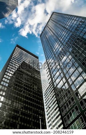 New York city , USA - JUNE 12: view of the Seagram Building in financial district, Wall street, manhattan - New York city - stock photo