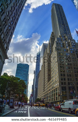 NEW YORK CITY - USA, JUNE 23 2016:  Views of the rush streets of Manhattan at W 42 street in New York. United States of America.