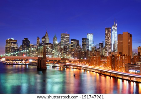 New York City, USA Lower Manhattan skyline from above the East River. - stock photo