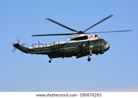NEW YORK CITY, USA - March 8, 2014: Presidential helicopter Marine One makes a practice landing for an upcoming Presidential visit in Lower Manhattan.