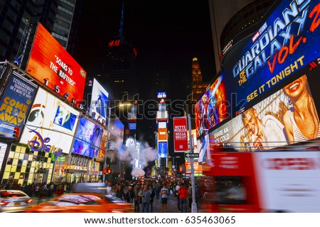 New York City, USA-May 6,2017: Bright lights of New York City Times Square at night.