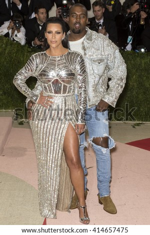 New York City, USA - May 2, 2016: Kim Kardashian and Kanye West attend the Manus x Machina Fashion in an Age of Technology Costume Institute Gala at the Metropolitan Museum of Art - stock photo