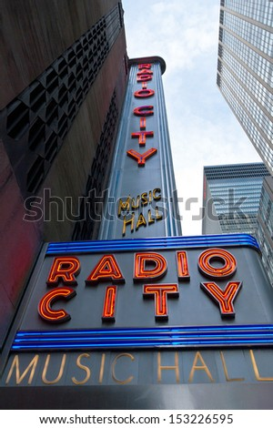 NEW YORK CITY, USA - MAY 7: Radio City Music Hall is an entertainment venue located in Rockefeller Center in New York City. Taken on May 7th, 2013 in New York City, USA - stock photo
