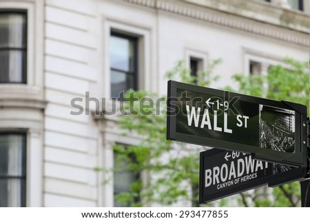 NEW YORK CITY, USA - MAY 19, 2014: Road sign at the intersection of Wall Street / Broadway. - stock photo