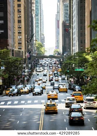 NEW YORK CITY, USA - May 28, 2016: Rush hour traffic on New York's famous 42nd Street.