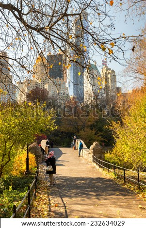NEW YORK CITY, USA - NOVEMBER 18, 2014 : A daily routine of Central Park New York City, visitors take photo and spend time with the background of high New York buildings.