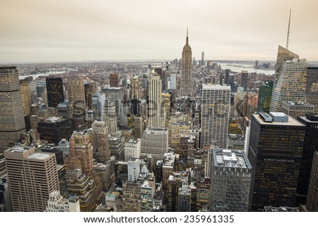 New York City, USA - November 6: Aerial view of Manhattan in New York City, USA on November 6, 2014. - stock photo