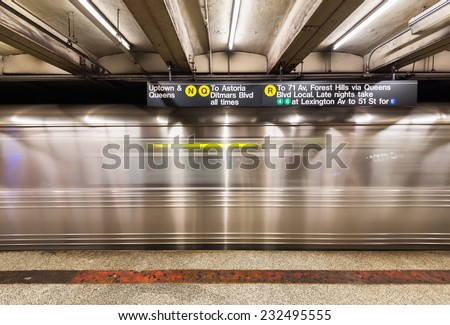NEW YORK CITY, USA  - NOVEMBER 18, 2014 : An empty track of New York City subway when train passes by. - stock photo