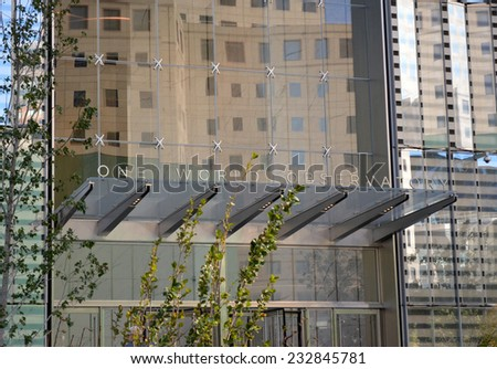 New York City, USA - November 3, 2014: Entrance sign for the soon to open observation deck at the newly opened World Trade Center Tower One in New York City.  - stock photo