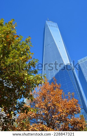 New York City, USA - November 3, 2014: Looking up at the newly opened World Trade Center Tower One on the day the building opens to workers in New York City.  - stock photo