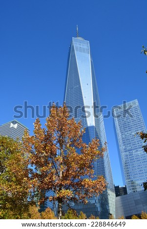New York City, USA - November 3, 2014: Lower Manhattan skyline including the newly opened World Trade Center Tower One in New York City.  - stock photo